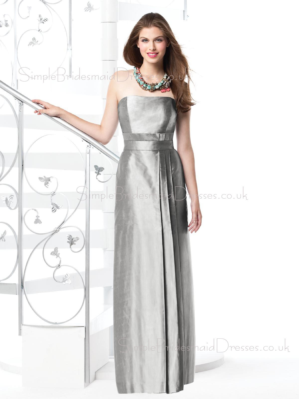 Zipper Draped Sash Floor length Silver Elastic Satin