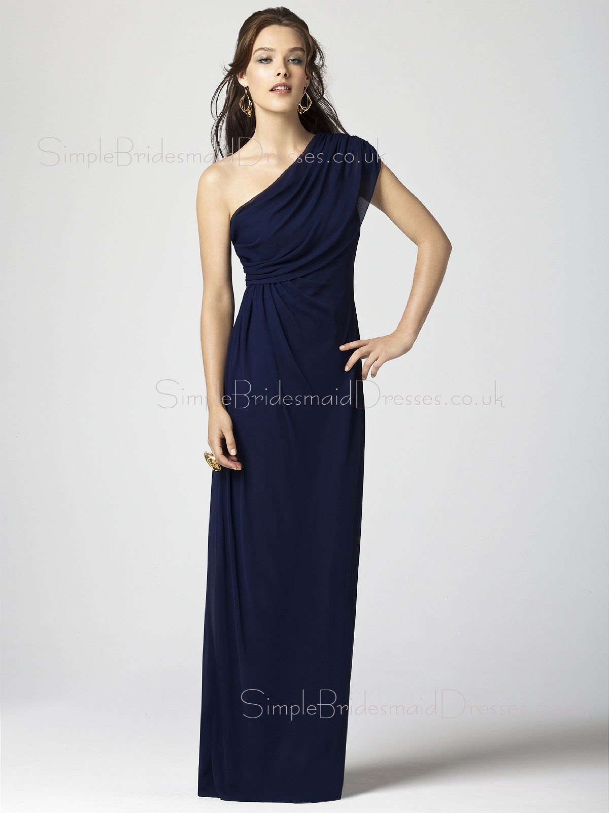Sheath Zipper Dark-Navy Chiffon One-Shoulder Bridesmaid Dress ...