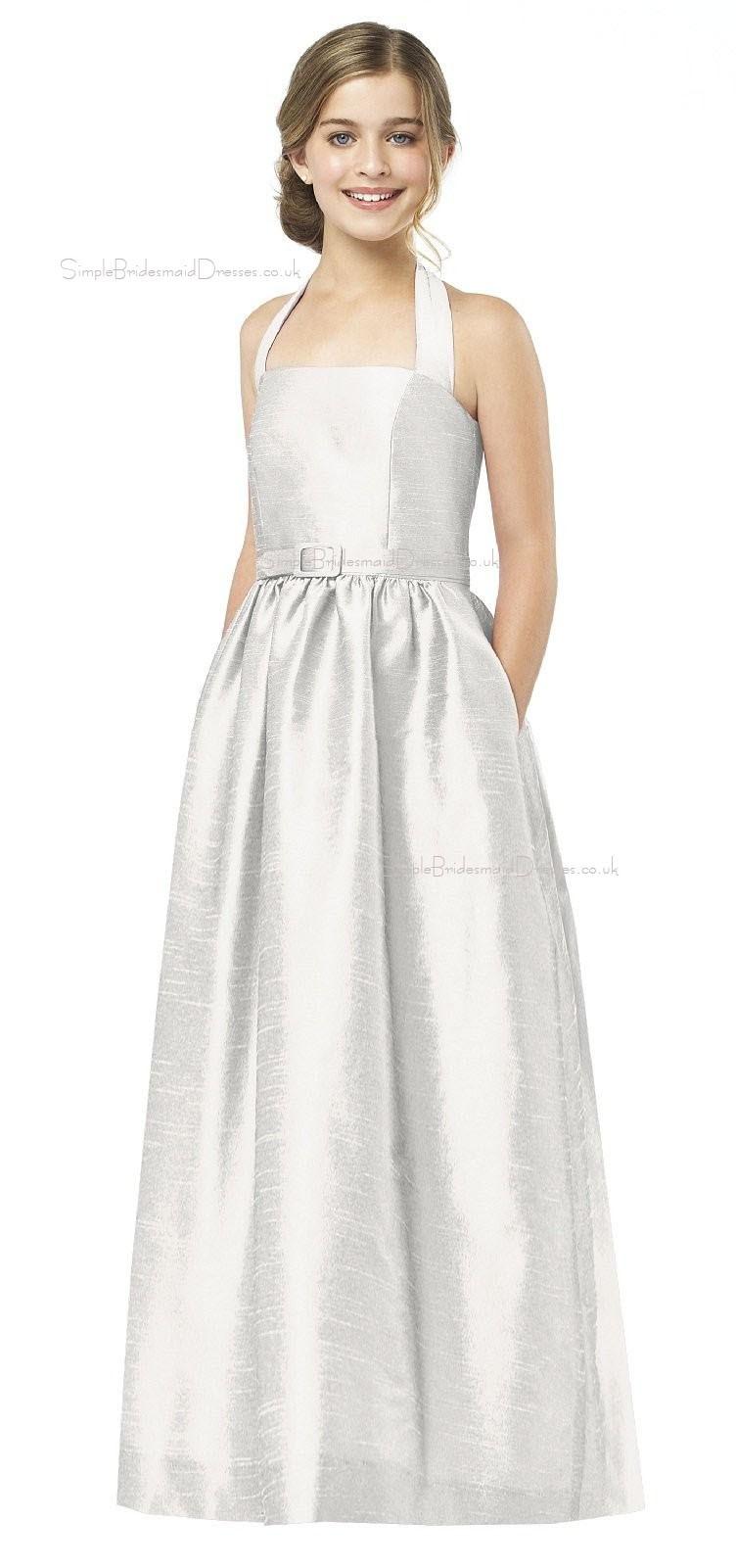White halter satin a line floor length junior bridesmaid for Junior dresses for wedding