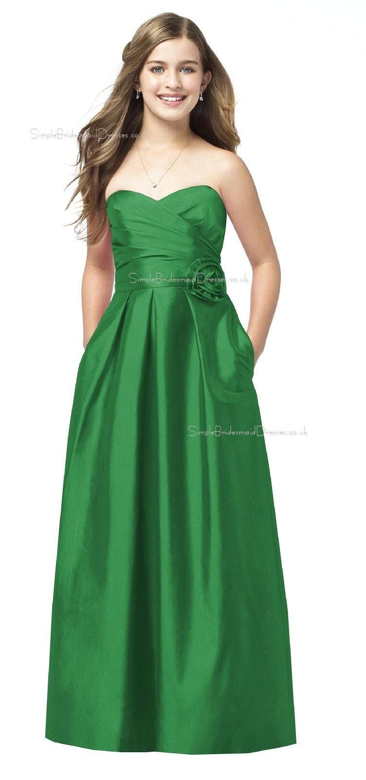 Green a line sweetheart strapless satin junior bridesmaid dresses ombrellifo Choice Image