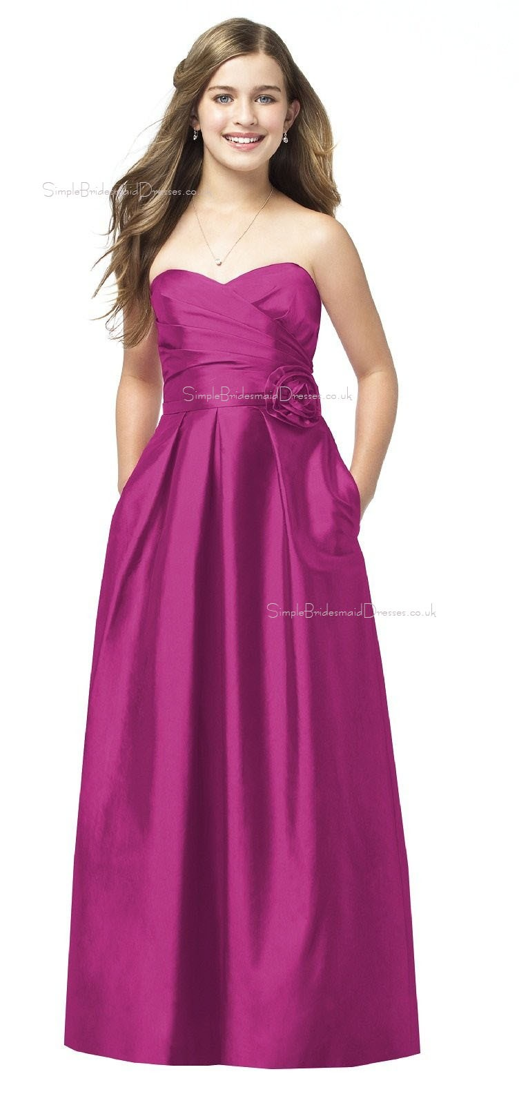Sweetheart Floor-length A-line Strapless Satin Junior Bridesmaid ...