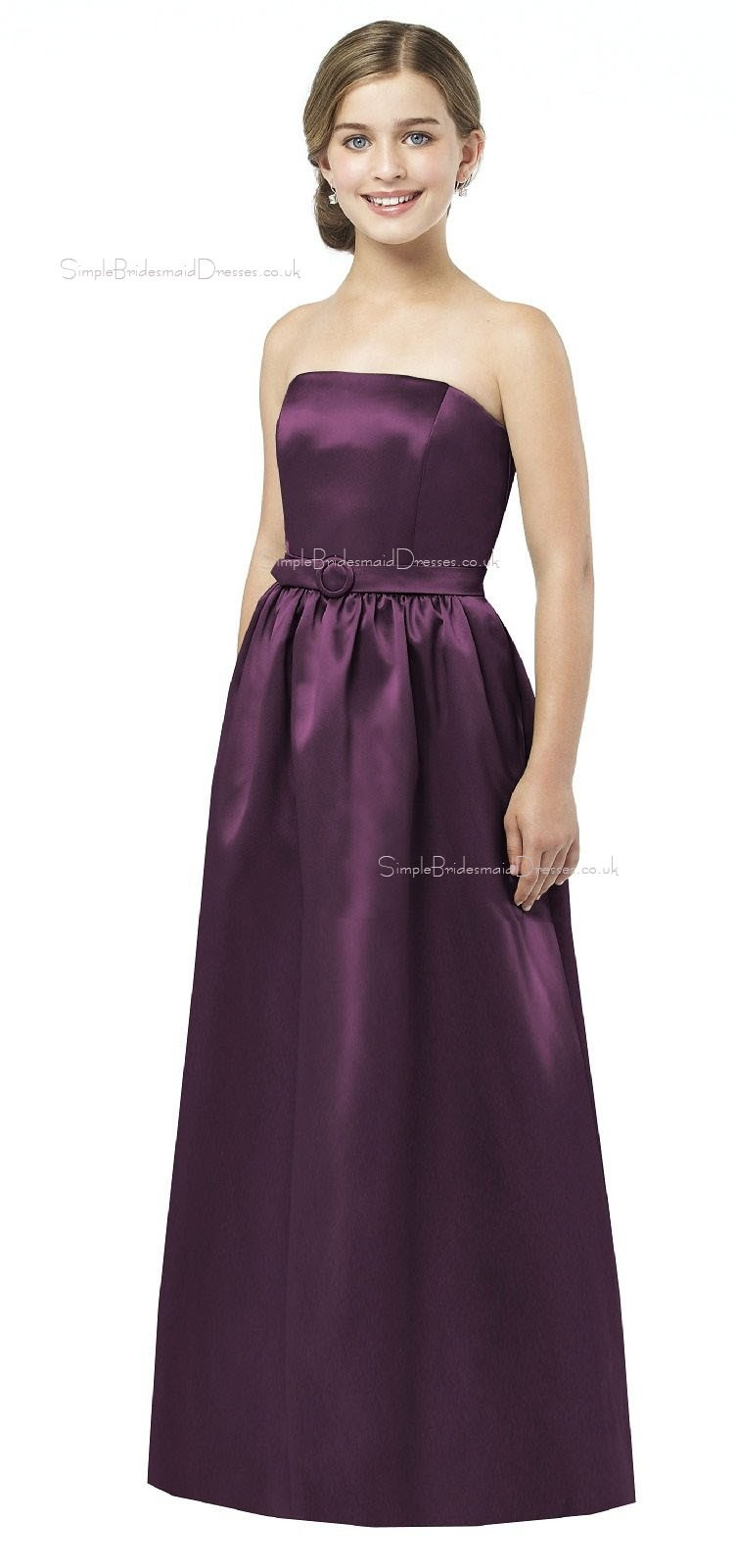 Grape A-line Floor-length Satin Spaghetti Junior Bridesmaid Dresses ...