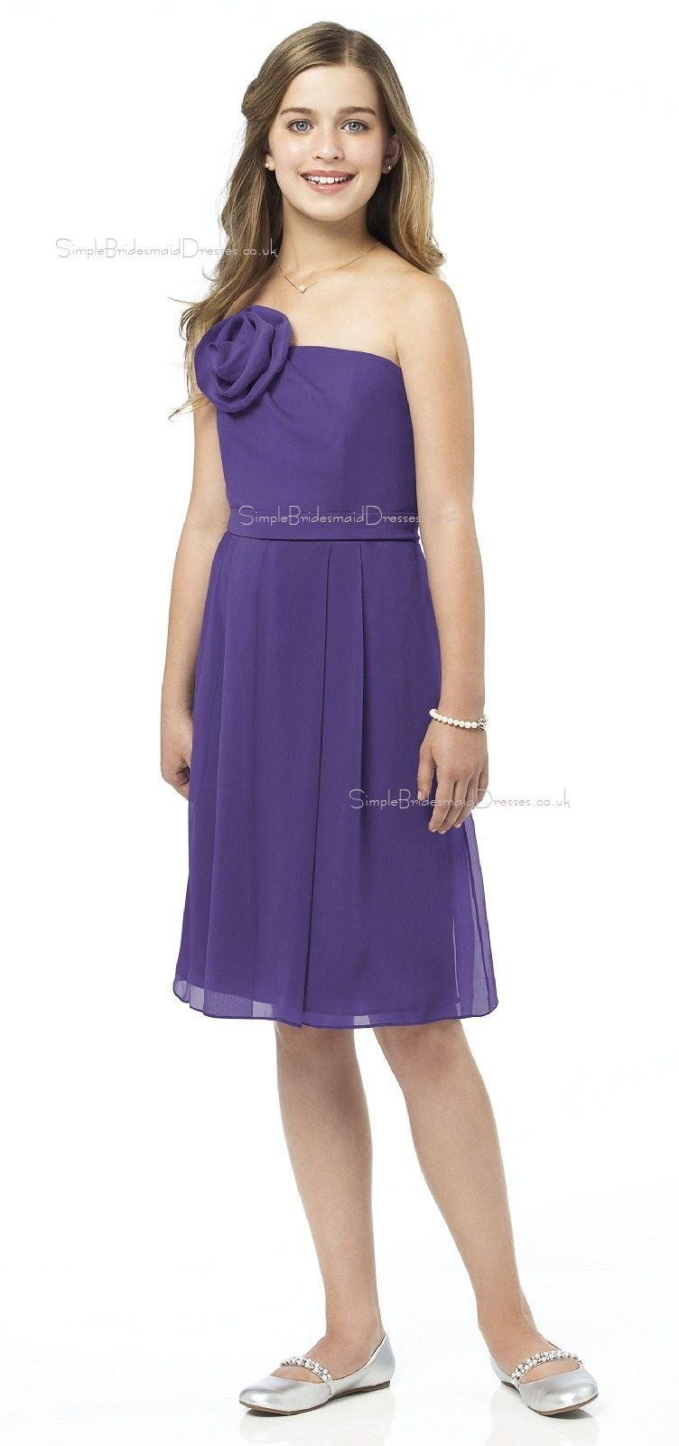 Spaghetti Chiffon A-line Straps Grape Junior Bridesmaid Dresses ...