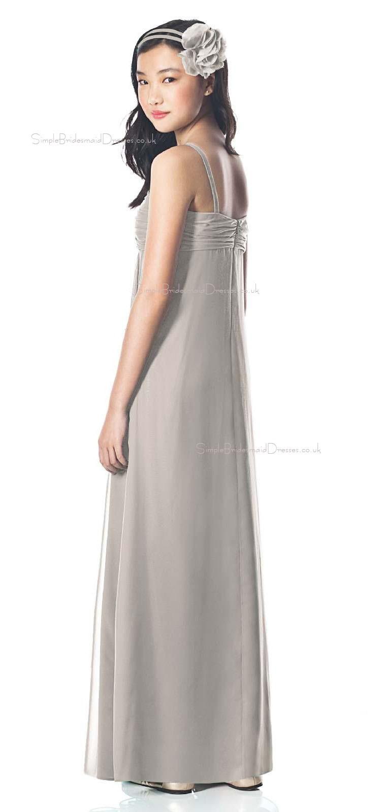 Tank Silver Sweetheart Chiffon Floor Length Junior Bridesmaid