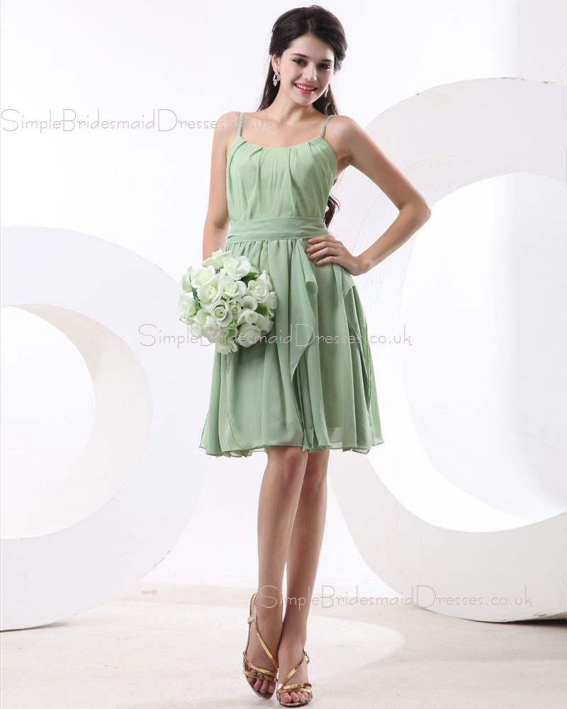 Natural sage chiffon spaghetti straps a line bridesmaid for Green beach wedding dresses