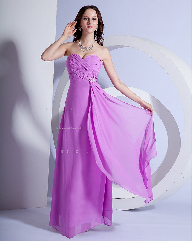 Lilac Natural Sleeveless Chiffon Floor-length Bridesmaid ...