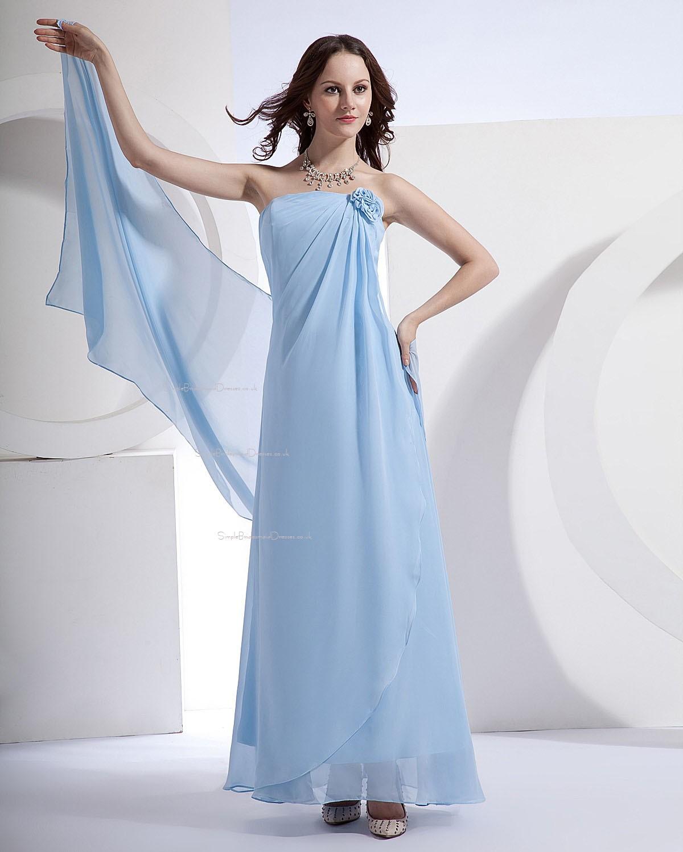 Blue Wedding Dress Simple : Blue chiffon floor length a line natural sleeveless bridesmaid dress