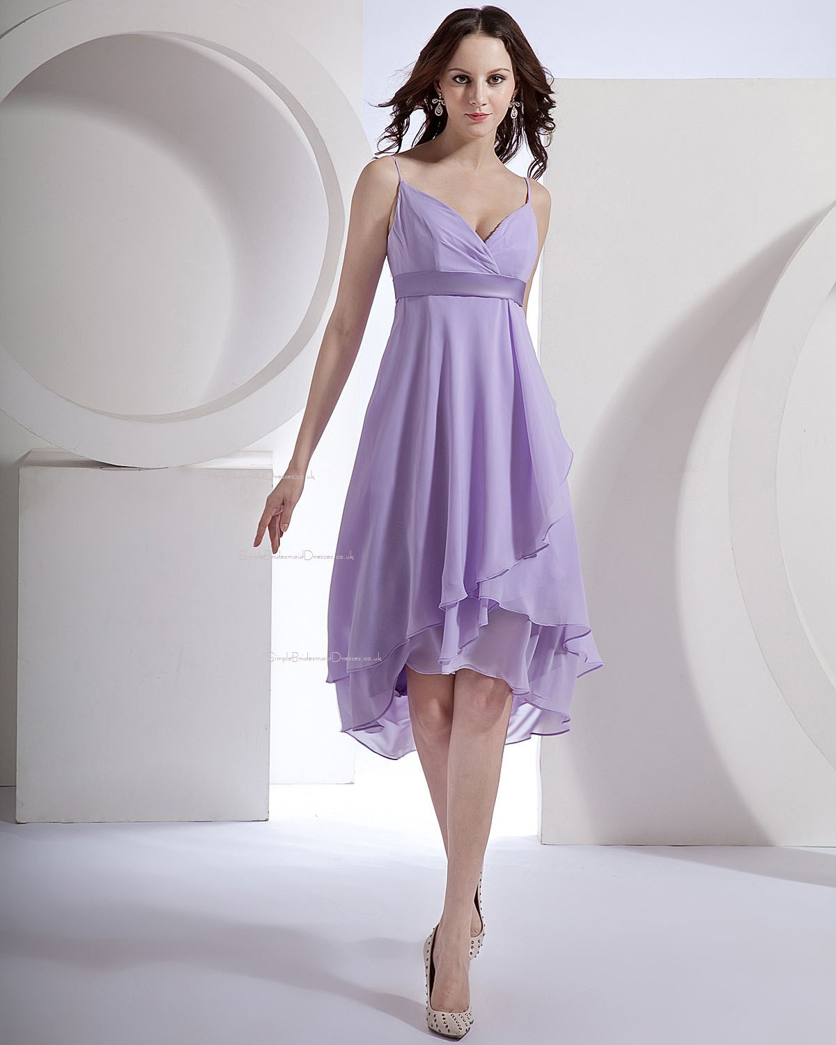 Lilac Asymmetrical Ruffles/Draped/Sash Empire Zipper Bridesmaid ...
