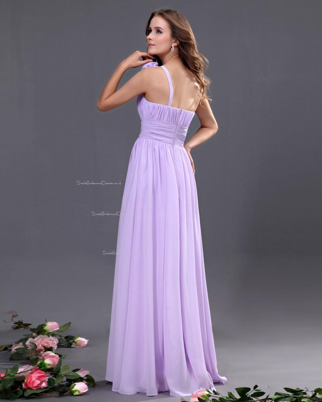 Lilac Sleeveless Zipper One-Shoulder Natural Bridesmaid Dress ...