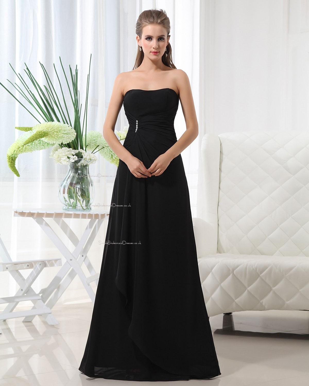 Ruffles Draped Beading Black Lace Up Natural Bridesmaid