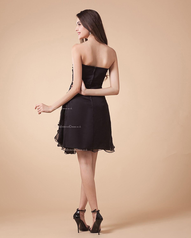 Sleeveless Black Sweetheart A line Short length Bridesmaid