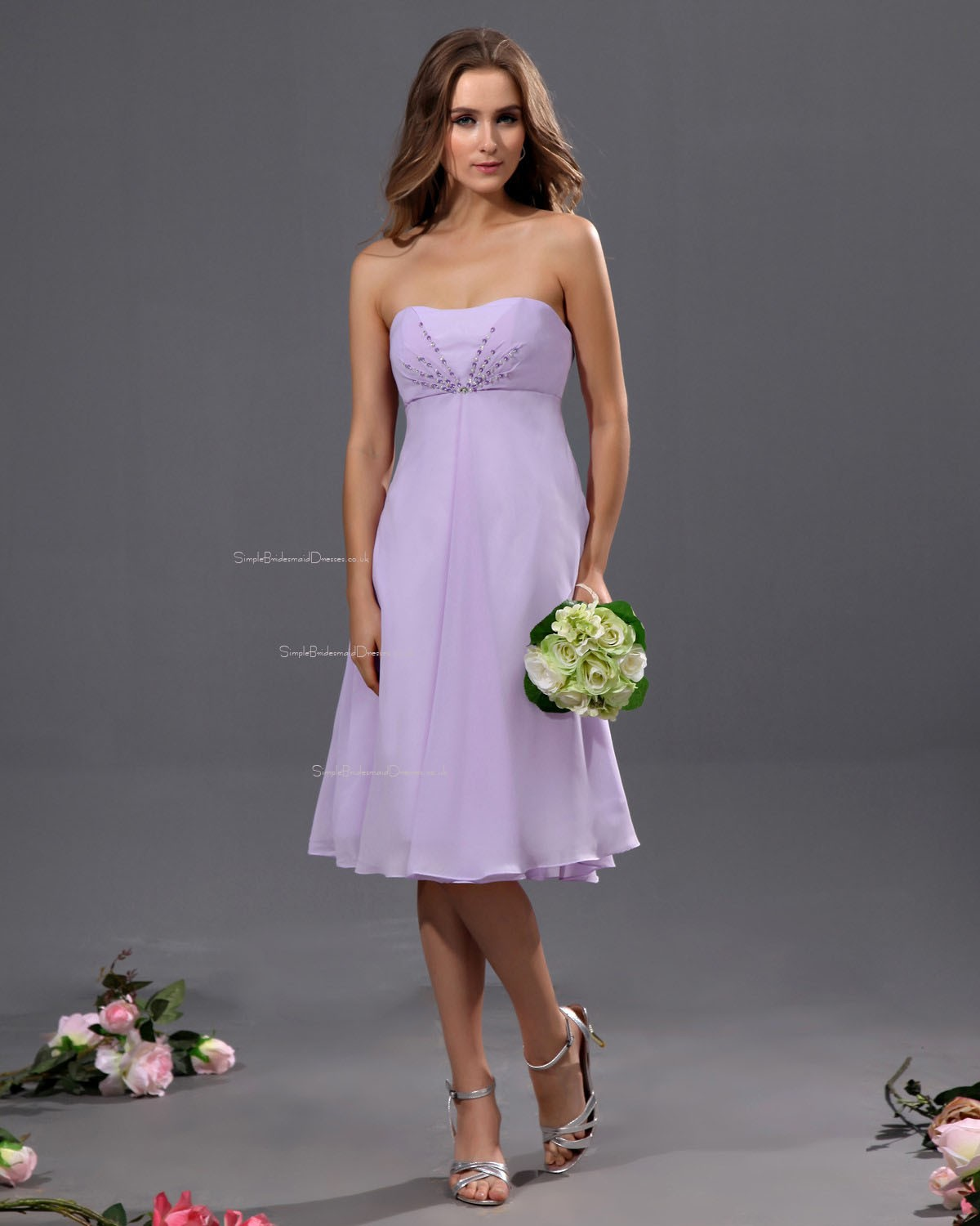 Sweetheart Knee-length Lilac Ruffles Beading Natural Chiffon Sleeveless  A-line Zipper Bridesmaid ... 2a35bf6b9361