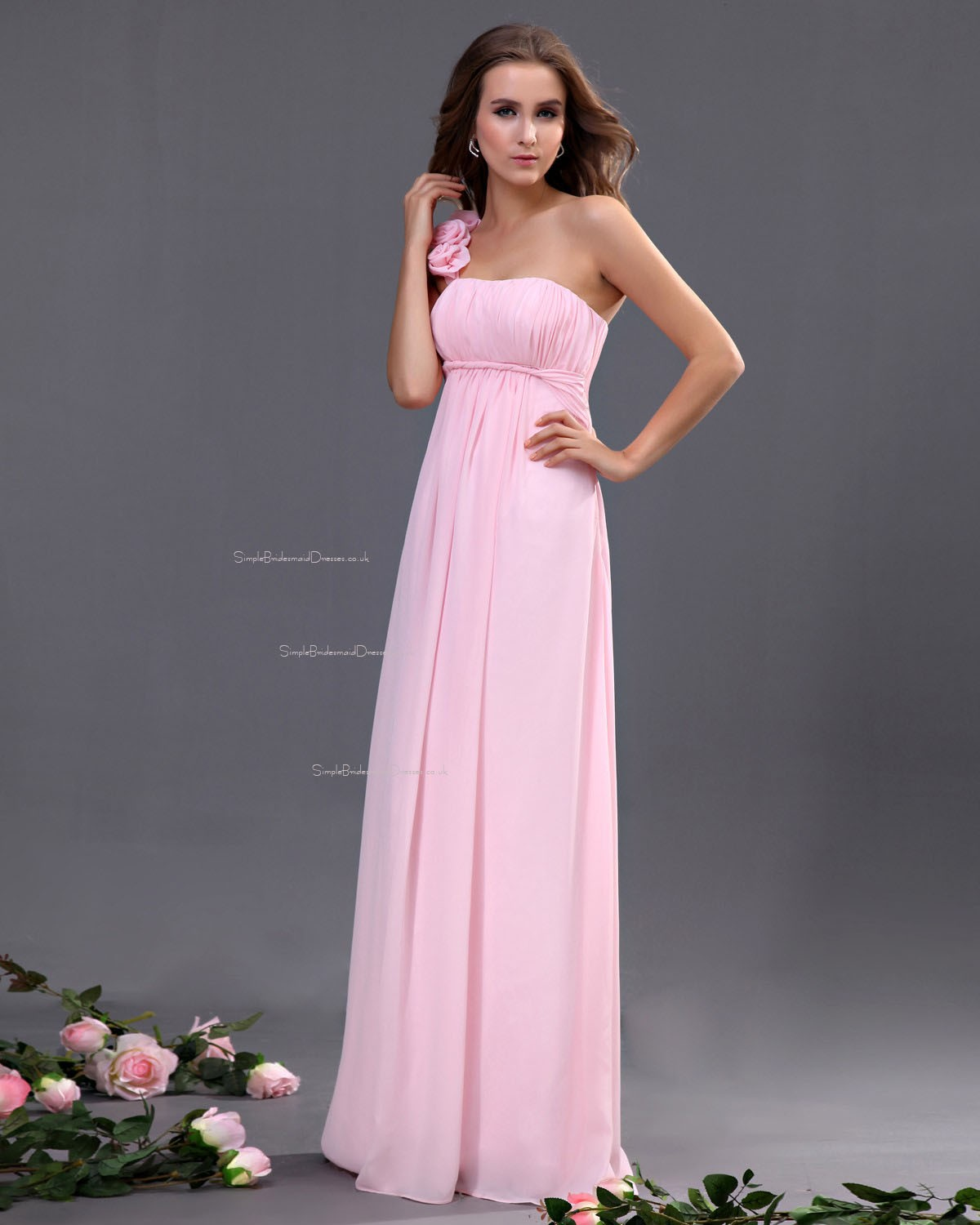 Pink Chiffon Ruffles/Flowers/Draped Sleeveless Floor-length ...