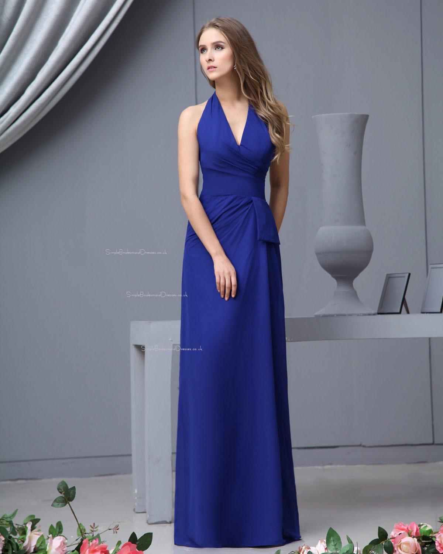 Blood Pool Halterneck Wedding Gown: Natural Zipper Floor-length V-neck Chiffon Bridesmaid