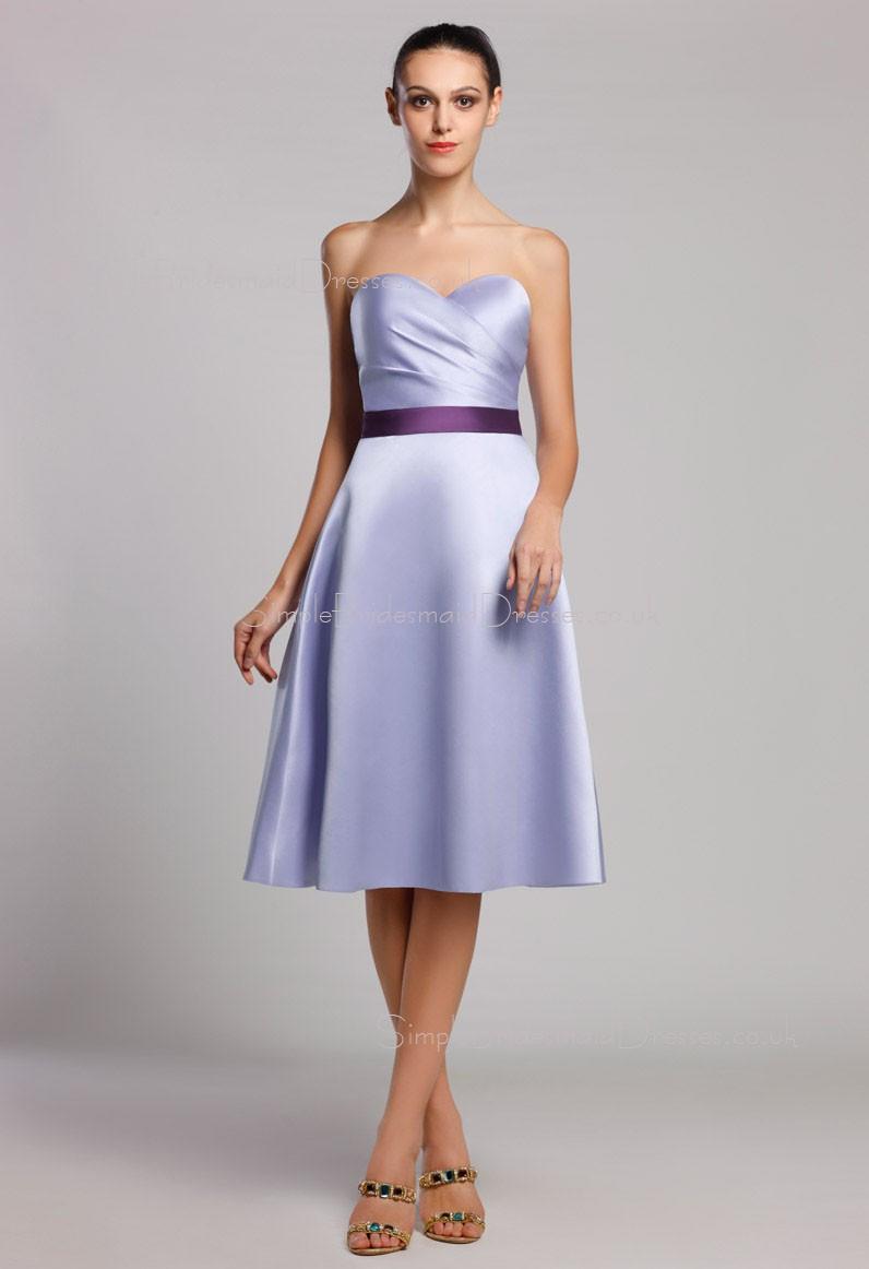 aa5f2fb4f68 A-line Natural Knee-length Sleeveless Zipper Ruffles Sash Satin Lavender Sweetheart  Bridesmaid ...