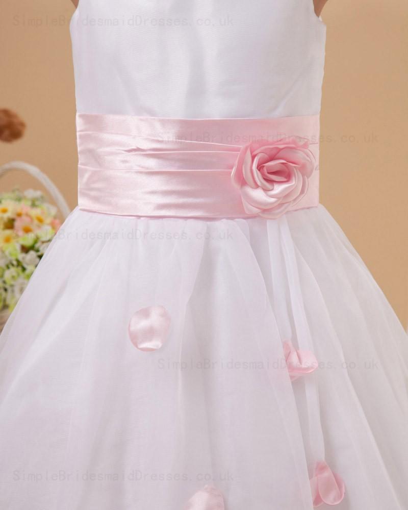 Cheap Hand Made Flower Scoop Sleeveless Belt White Pink