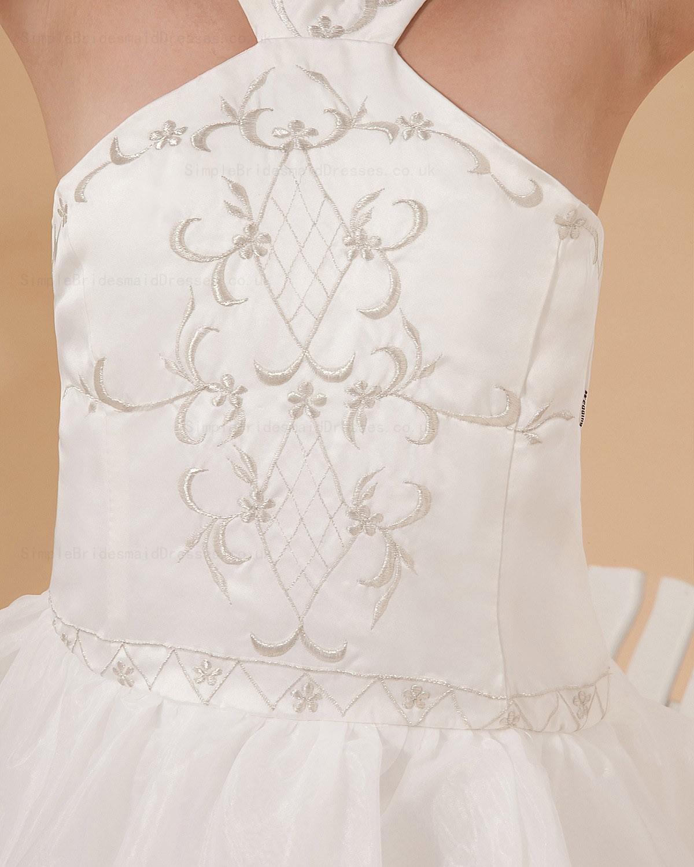 Cheap floor length zipper embroidery ruffles a line satin