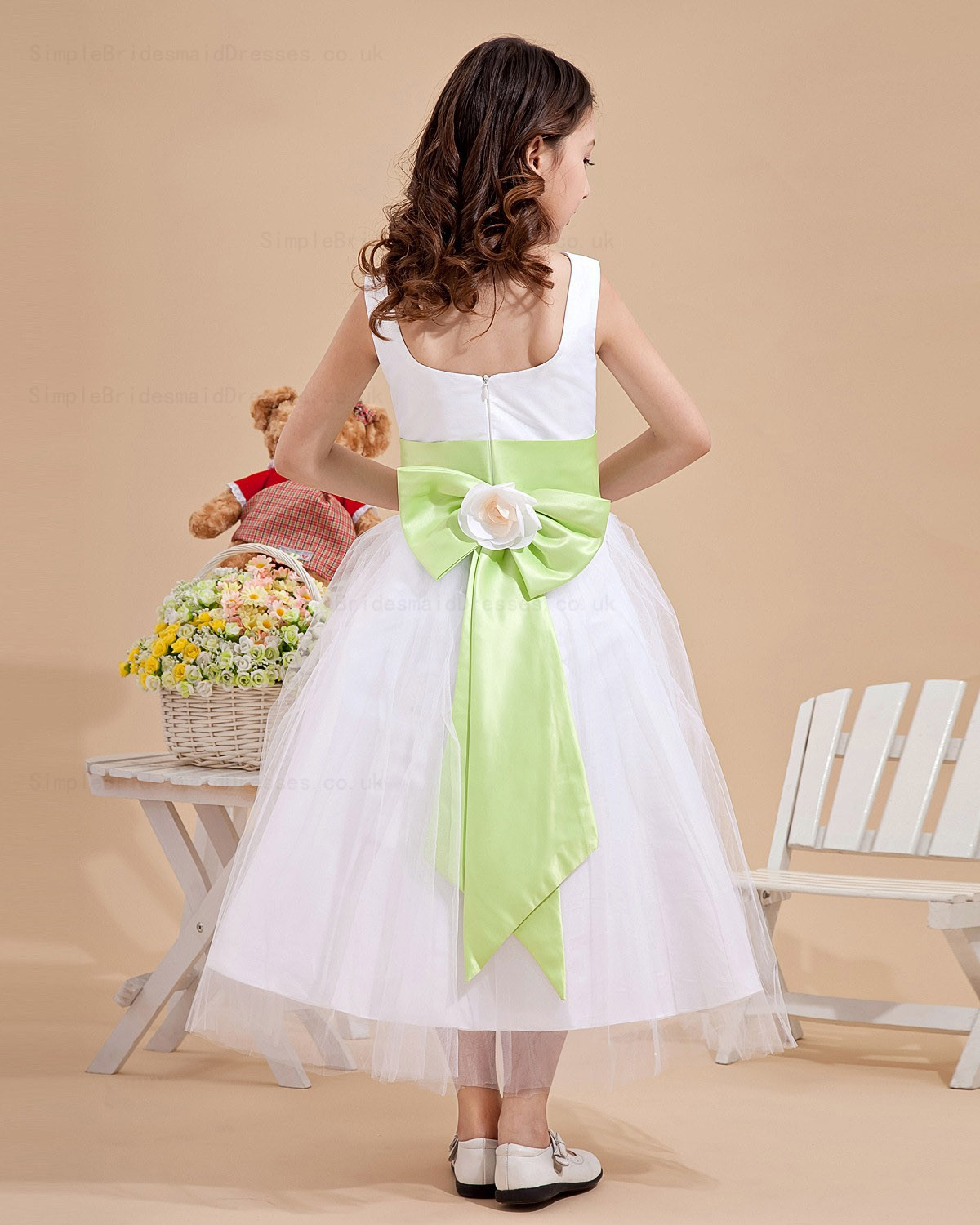 Cheap Ankle Length Bow Belt Satin Organza A line Ivory Flower Girl Dress S