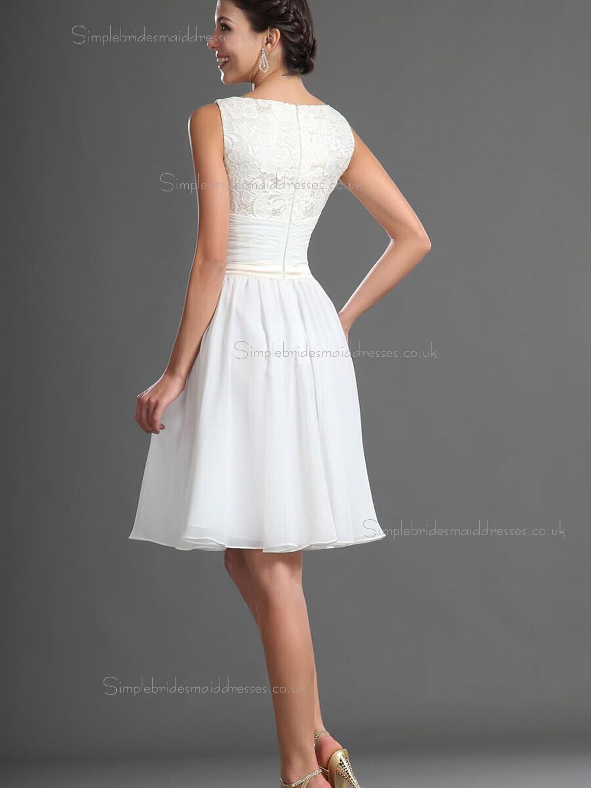 Best White Knee Length Bridesmaid Dress Sbmd E 1001