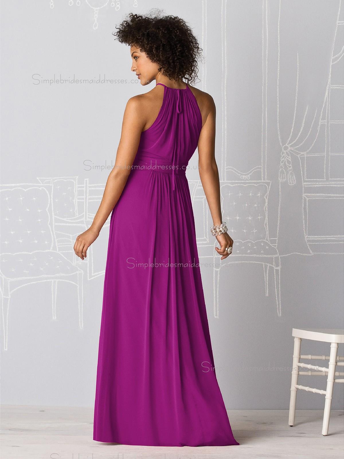 Luxury Stylish Persian Plum Floor Length Bridesmaid
