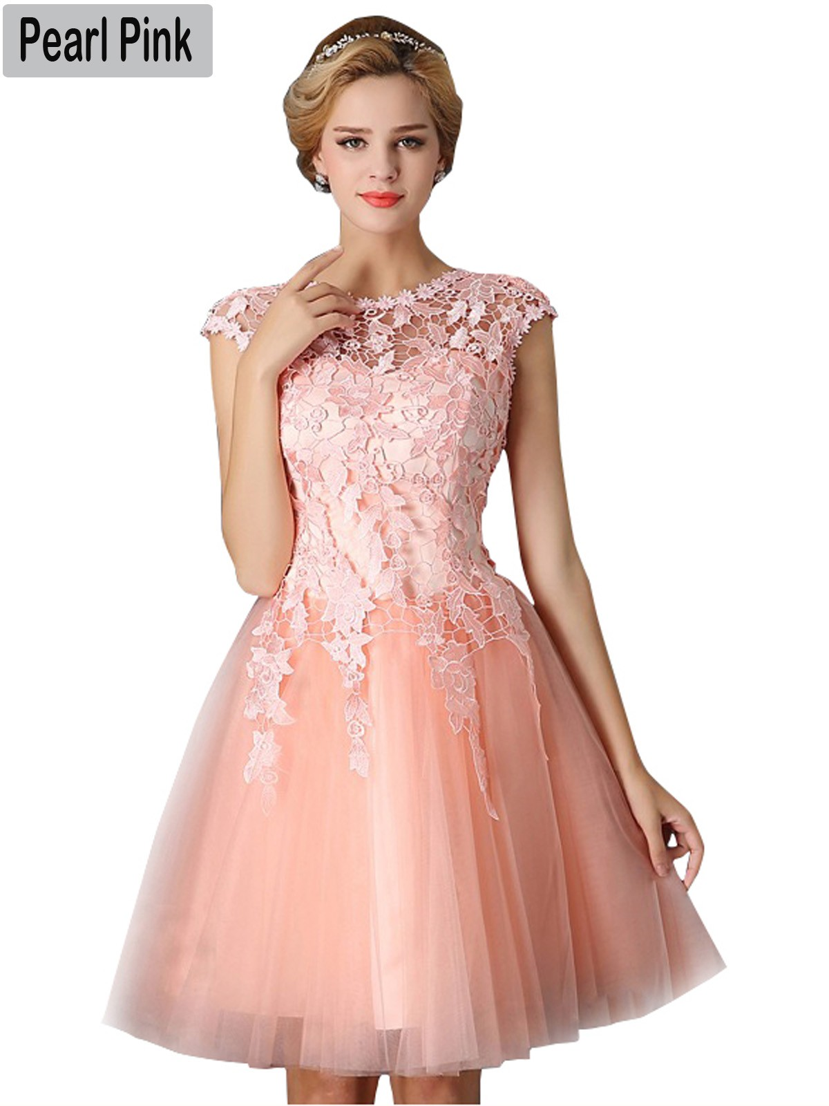 Short Pearl Pink Bridesmaid Dress 2018 Elegant A-Line Red Formal ...