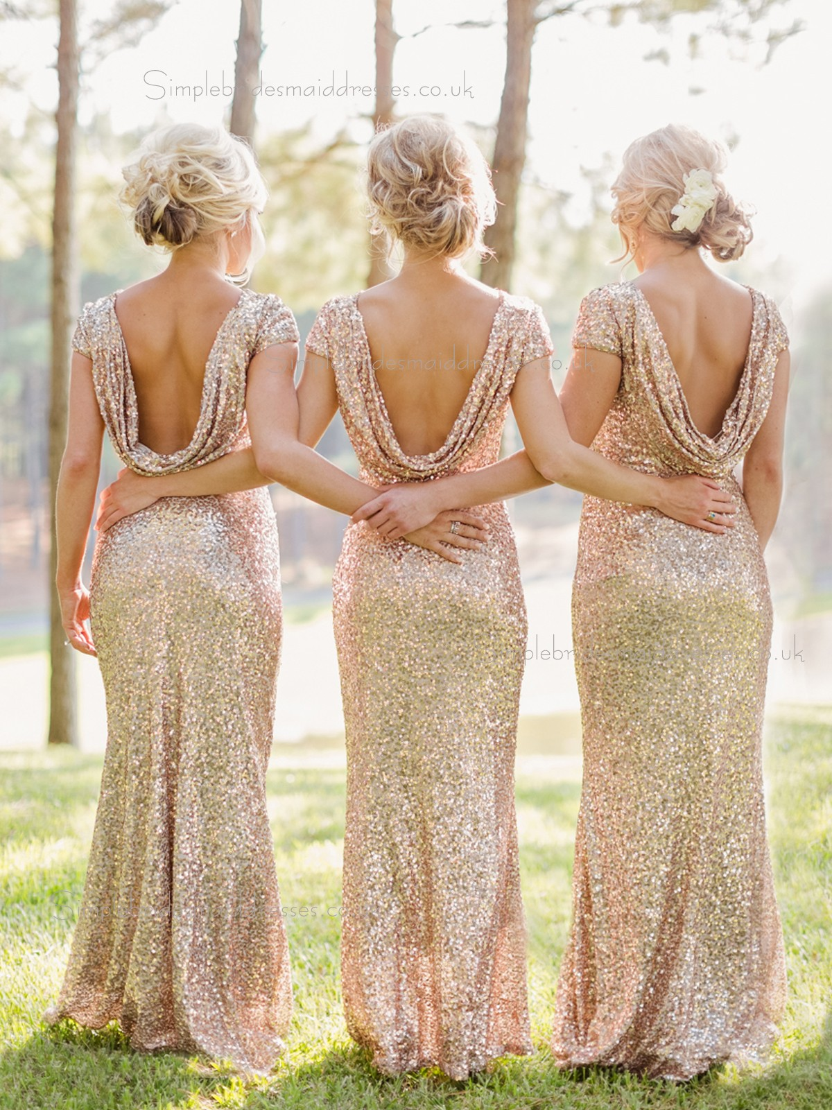 Hot sale sparkly sequin mermaid long gold champagne for Gold bridesmaid dresses wedding