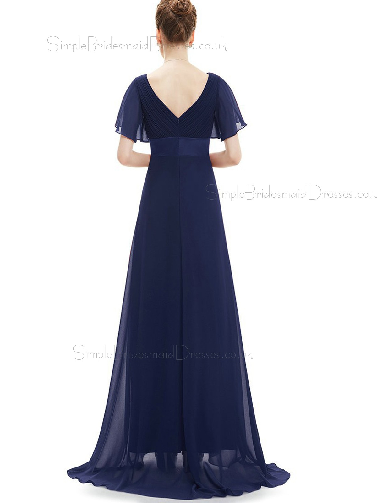 Budget discount navy long chiffon bridesmaid dress for Budget wedding dresses uk