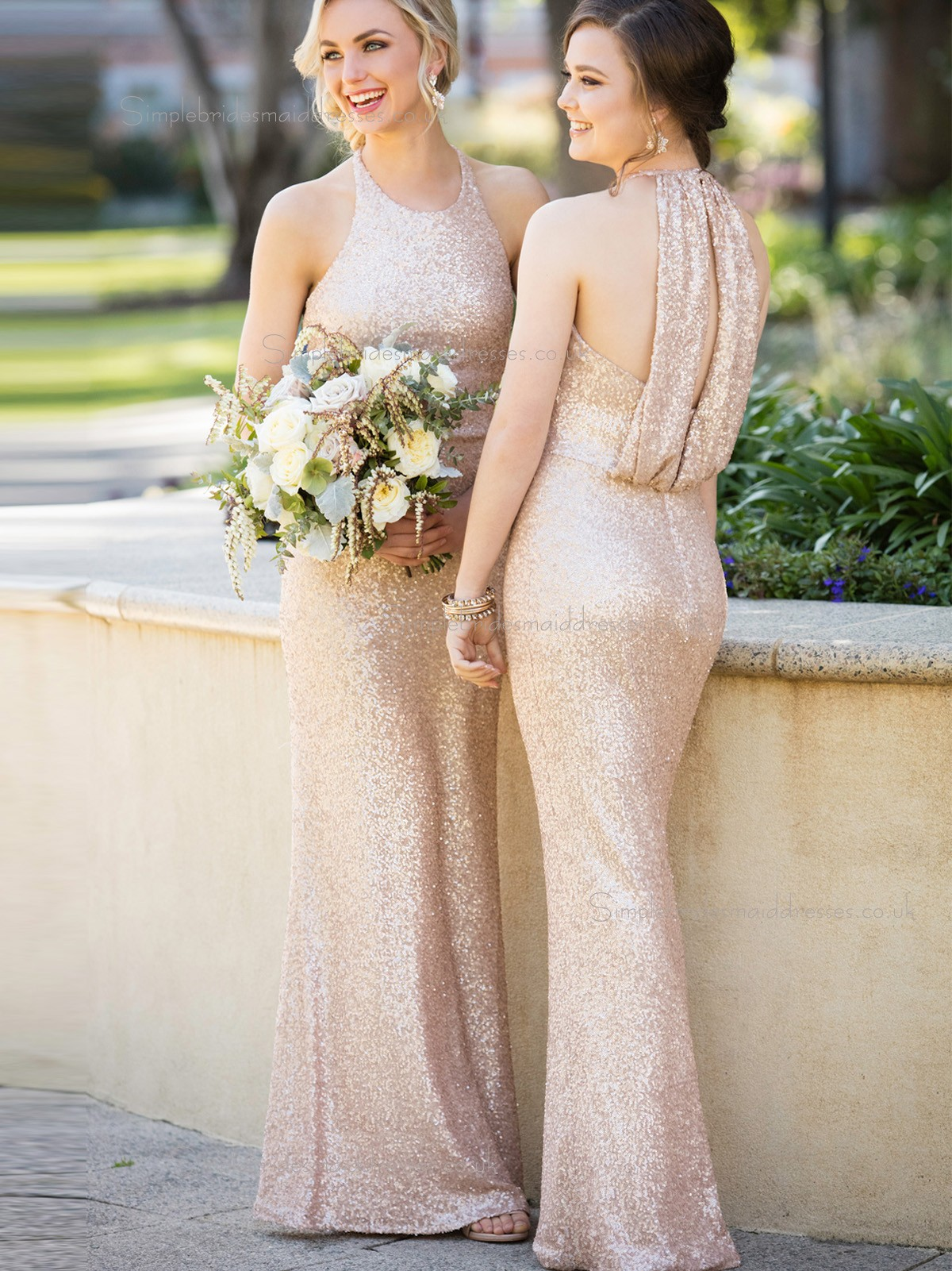 Beautiful romantica high neck sequins rose gold wedding for Gold bridesmaid dresses wedding
