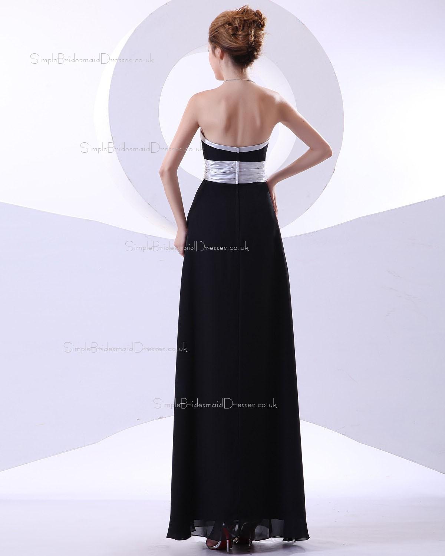 A line Black Sleeveless Chiffon Floor length Bridesmaid