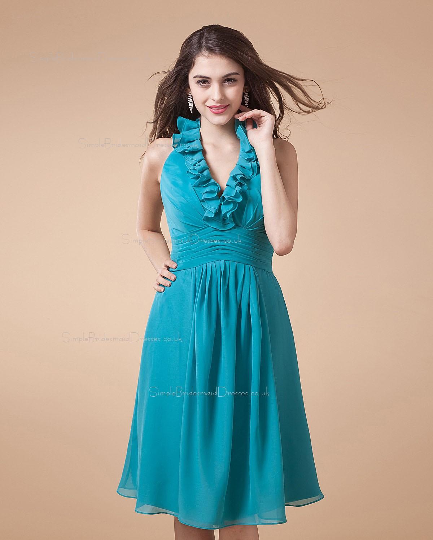 Blood Pool Halterneck Wedding Gown: Chiffon Ruffles/Tiered Knee-length A-line Blue Bridesmaid