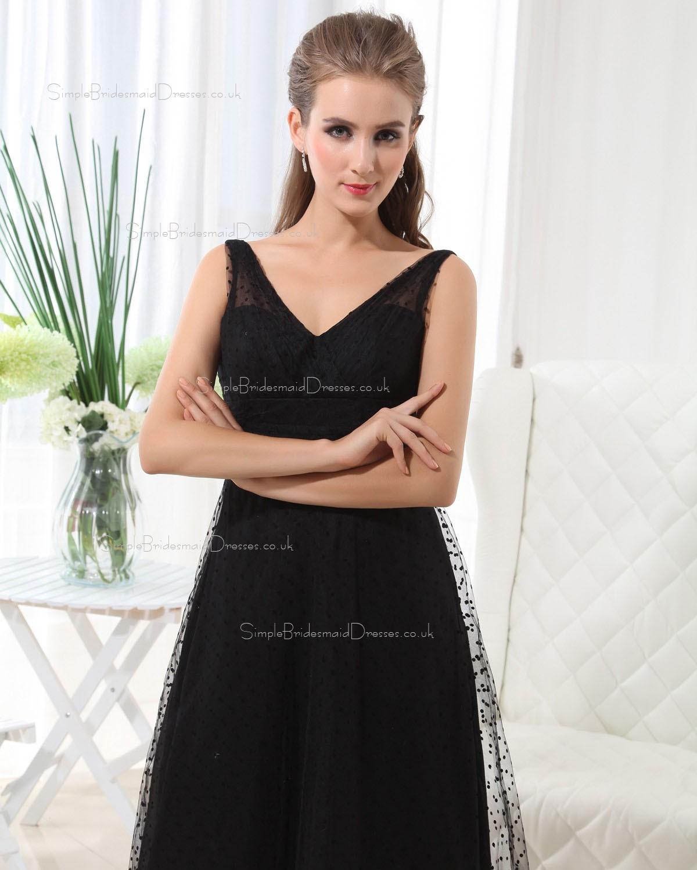 Natural Black Sleeveless Tulle Ruffles Bridesmaid Dress