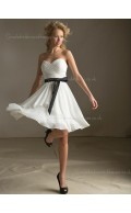 Dropped A-line Chiffon Bow/Ruffles Zipper Sweetheart Sleeveless White Short-length Bridesmaid Dress