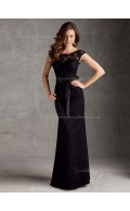 Lace Cap Sleeve Black Bateau Belt Column Sheath Natural Floor-length Zipper Bridesmaid Dress
