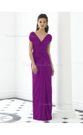 Short-Sleeve Ruched-Ruffles V-neck Purple Empire Zipper-Back Column-Sheath Floor-length Chiffon Bridesmaid Dress