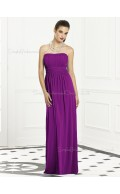 Column-Sheath Bateau Purple Sash-Ruched-Ruffles Empire Backless-Zipper-Back Sleeveless Floor-length Chiffon Bridesmaid Dress