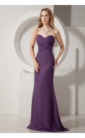 A-line Floor-length Sleeveless Zipper Ruched Grape Natural Chiffon Sweetheart Bridesmaid Dress