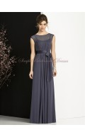 Zipper Floor-length Sleeveless stormy Natural Bateau Grey Sash/Bow A-line Chiffon Bridesmaid Dress
