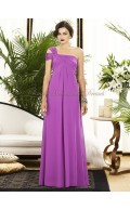 Chiffon Empire A-line Floor-length One-Shoulder Sleeveless Lilac orchid Zipper Ruched Bridesmaid Dress
