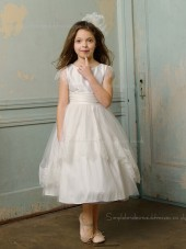 Sleeve Length Satin Scoop Ivory Cap A-line Bowknot / Lace / Tiered Ankle Flower Girl Dress