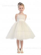 A-line Knee-length Champagne Organza Neck Applique Sleeveless High Flower Girl Dress