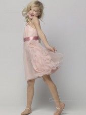 Bateau Organza Knee-length Pink Sleeveless A-line Tiered / Sash Flower Girl Dress