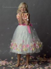 Bowknot / Hand Shaped Organza Sleeveless Flower Made Tea-length A-line Neck Flower Girl Dress