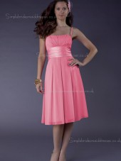 Zipper Bateau Chiffon Knee-length Watermelon Sash/Ruffles Empire A-line Spaghetti Straps Bridesmaid Dress