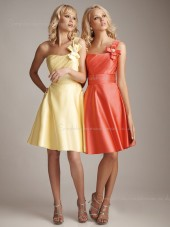 Satin Flowers/Ruffles Natural Bateau A-line Sleeveless Zipper Short-length Bridesmaid Dress