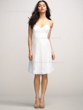 Zipper Sash/Applique Short-length Sleeveless White A-line Natural Lace Sweetheart Bridesmaid Dress