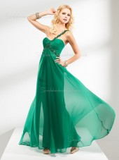 One Shoulder Sleeveless Floor-length Chiffon A-line Green Backless Beading/Ruffles Empire Bridesmaid Dress