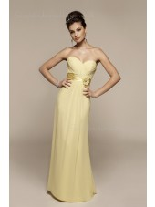 Floor-length Zipper Sweetheart Column Sheath Yellow Flowers/Ruffles Empire Chiffon Sleeveless Bridesmaid Dress
