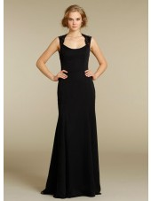 Chiffon Black Column Sheath Sleeveless Natural Backless Floor-length Bateau Lace Bridesmaid Dress