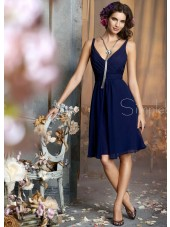 Royal Blue Chiffon Sleeveless Knee-length V-neck Ruffles Dropped A-line Backless Bridesmaid Dress