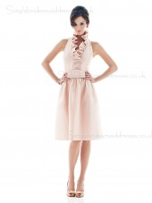 Sleeveless Backless Knee-length Pink Natural Halter Satin A-line Ruffles Bridesmaid Dress